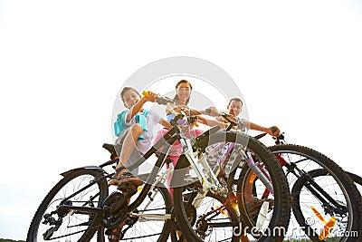 Three on bikes