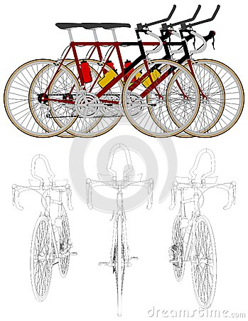 Three Bikes In The Line Race Vector 05