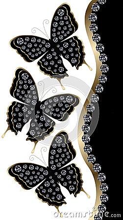 Free Three Black Butterflies With Diamonds Vertical Border Royalty Free Stock Photos - 49336538