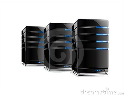 Three black computer servers