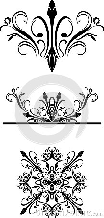 Three black ornamental elements