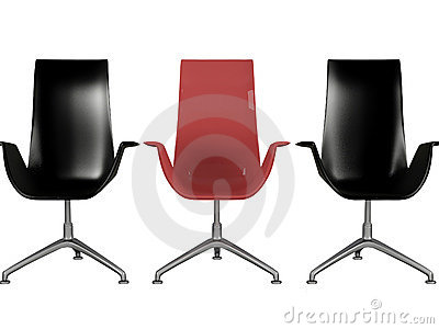 Three black and red office armchairs isolated