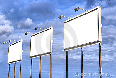 Three blank billboard