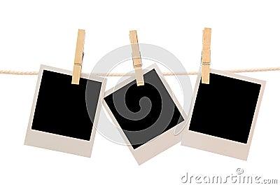 Three blank instant photos