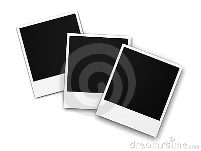 Three blank photo frames on white background