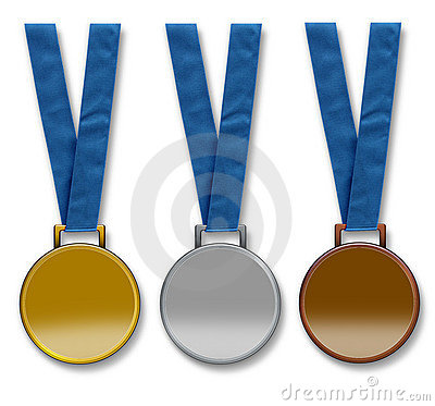 Three blank winners medals