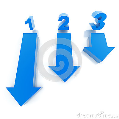 Three blue arrows and numbers