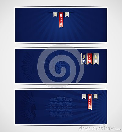 Three blue banner template with ribbons and Americ