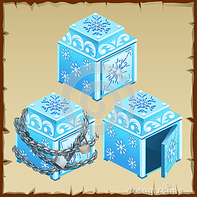 Free Three Blue Chest Of Ice, Open And Closed Royalty Free Stock Image - 66817996