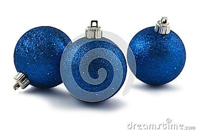 Three blue Christmas baubles