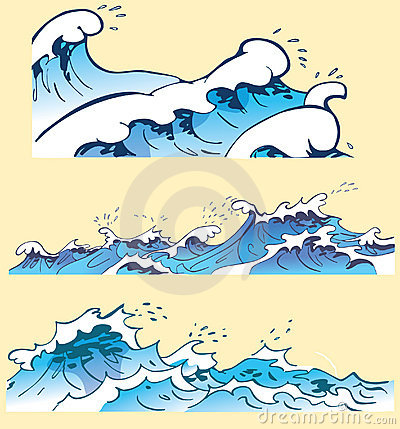 Three blue ocean waves