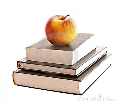 Three books and apple isolated