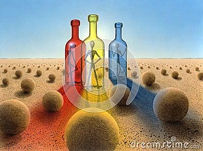 Three bottles in surreal desert ambiance
