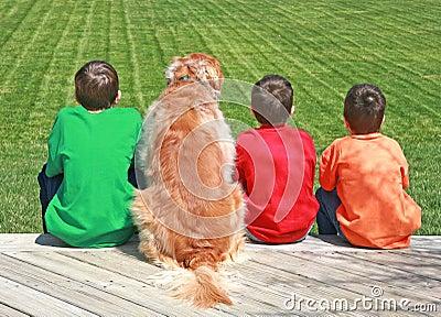 Three Boys and a Dog