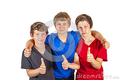 Three boys and friends show thumbs up