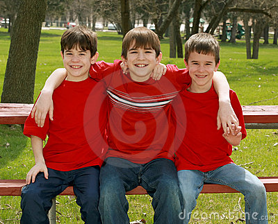 Three Boys in Red