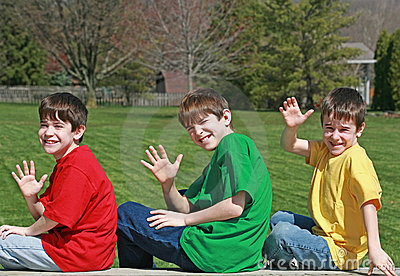 Three Boys Waving