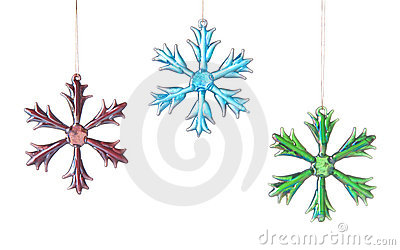 Three Bright Glass Stars Or Snowflakes