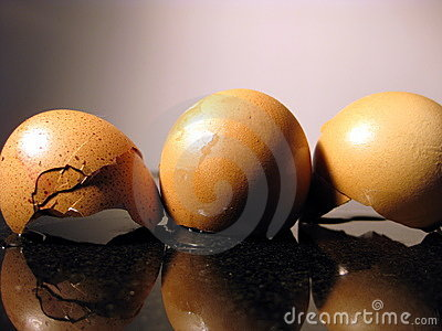Three broken eggs