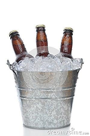 Free Three Brown Beer Bottles In Ice Bucket Stock Photo - 13363200