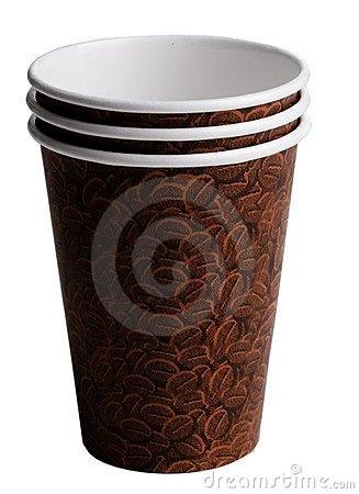 Free Three Brown Coffee Cups With A Bean Print Stock Photo - 4593480