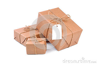 Three brown packages