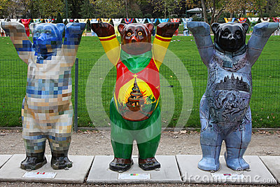Three Buddy Bears in Paris Editorial Stock Photo