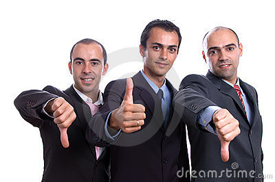 Three business man with thumbs