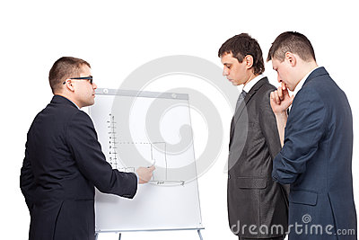 Three business men and flipchart