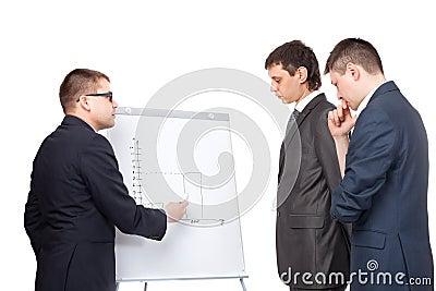 Three business men and flipchart