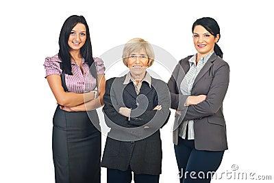 Three business women team