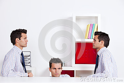Three businessman at the office
