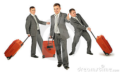 Three businessmen with luggage on white, collage