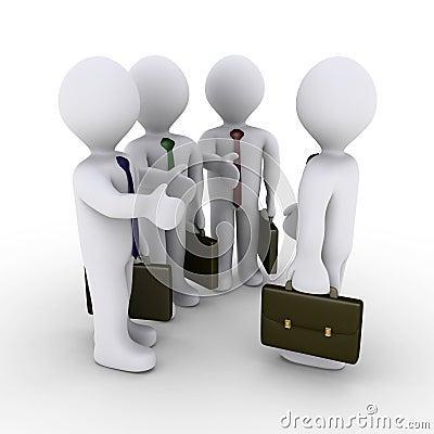 Three businessmen offer handshake