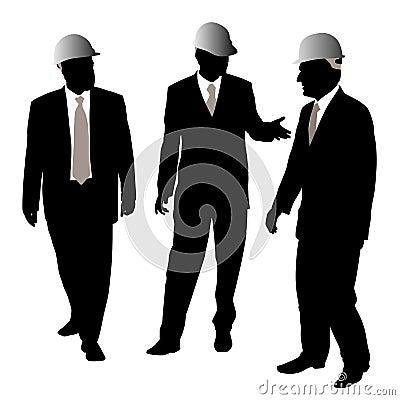 Three businessmen with protective helmet