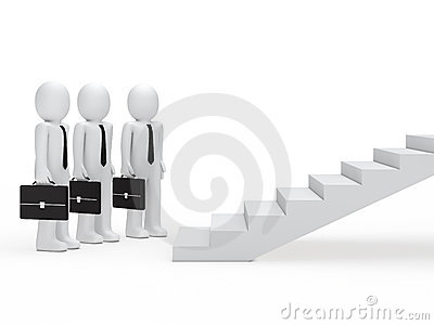 Three businessmen for stairs
