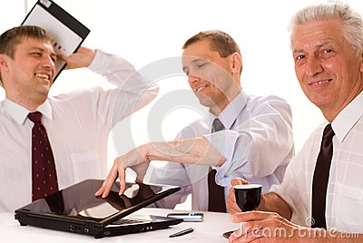 Three Businessmen Working Royalty Free Stock Photography - Image: 15173657