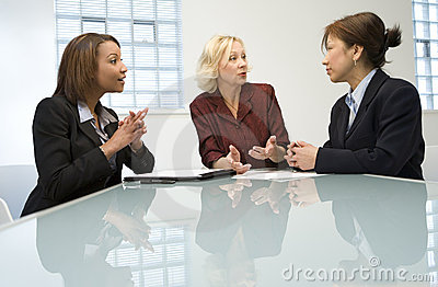 Three businesswomen in meeting