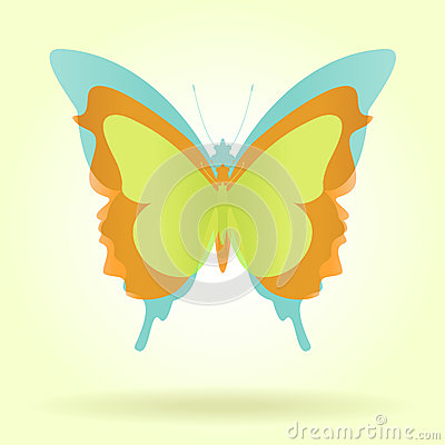 Three butterflies with vintage colors