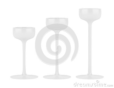 Three candlesticks with small candles isolated
