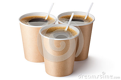Three cardboard vending coffee cups