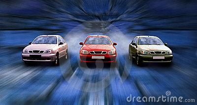 Three cars on the speed in night