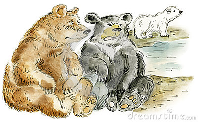 Three cartoon bears