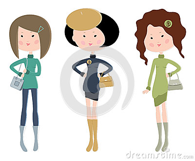 Three cartoon fashionable young women