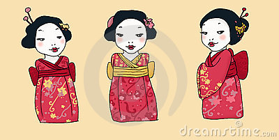Three cartoon geisha