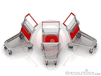 Three carts on wheels