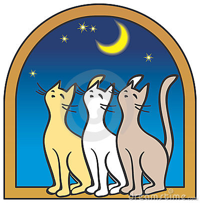 Three cats by the window, moon