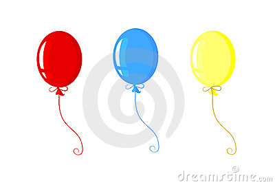 Three celebration balloons