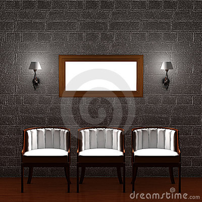 Three chair with empty frame and sconces