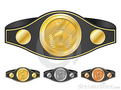 Three champion belts